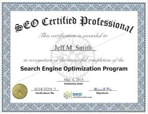 SEO Certified Professional 2015