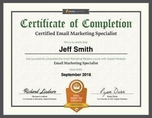 Digital Marketer Email Marketing Certificate