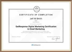 GetResponse Email Marketing Certificate