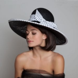 black and white race day hat
