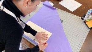 cutting fabric for face masks